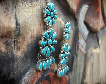 29gm Cluster Chandelier Turquoise Earrings for Women Sterling Silver Best Anniversary Gift Wife