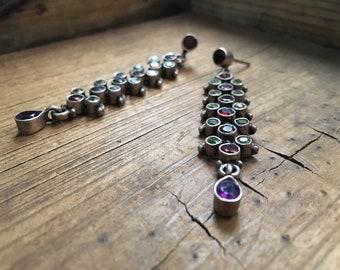 Long Earrings Amethyst Garnet Peridot Gemstone Dangles Bohemian Jewelry, Boho Earrings
