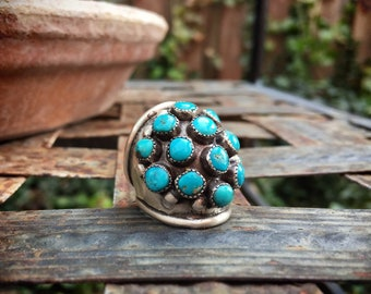 Old Pawn Zuni Turquoise Snake Eye Knuckle Ring for Women Size 4.5, Native American Indian Jewelry