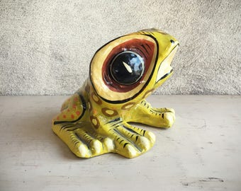 Signed SERMEL Paper Mache Frog Tonala Jalisco Collectible Mexican Folk Art