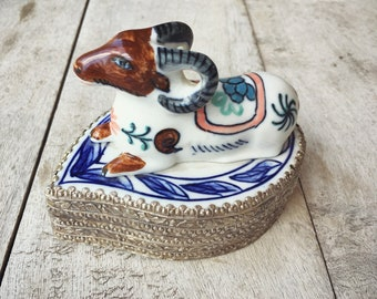 Porcelain Trinket or Stash Box with Ram Blue and White Chinoiserie Decor, Pill Box, Taurus Gift