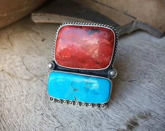 Turquoise and Jasper Ring Size 9, Signed Navajo Native American Indian Jewelry