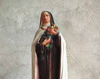 "Vintage 17"" Saint Therese Statue Chalkware Plaster Made in Mexico, Home Altar Saint"