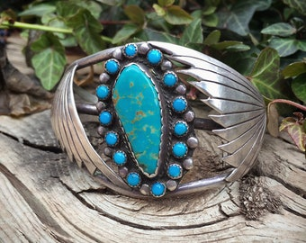 Large Turquoise Cuff Bracelet for Women, Navajo Jewelry from New Mexico Estate, Native American Indian Jewelry