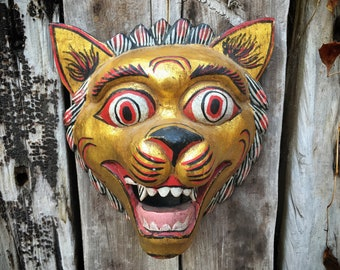 Wooden Mask Tiger with Big Eyes, Balinese Folk Art, Indonesia Mask Wall Hanging, Rustic Home Decor