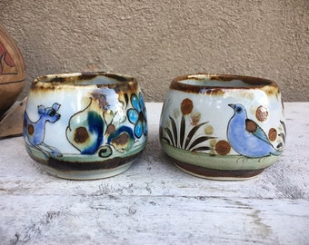 Pair of Vintage Ken Edwards Ceramic Coffee Mugs, El Palomar Tonala Pottery Coffee Cups