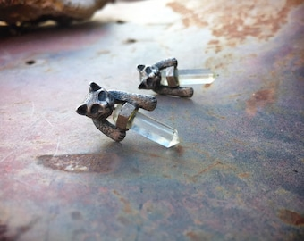 Small Vintage 925 Sterling Silver Cat Stud Earrings with Quartz Crystals, Birthday Gift for Girlfriend for Her