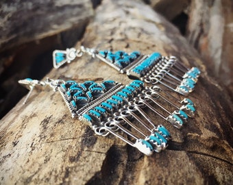 Large Turquoise Chandelier Earrings for Women, Signed Zuni Kevin Leekity Needlepoint Turquoise, Native American Indian Jewelry