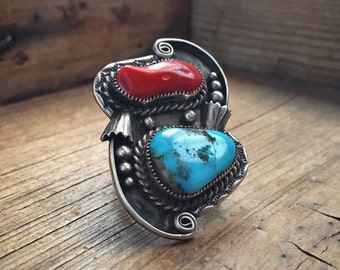 Large Navajo Ring Coral Turquoise Jewelry, Vintage Turquoise Ring Native American Indian