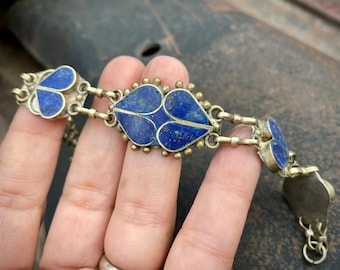 "Lapis Lazuli Inlay Link Bracelet 8"" Old Tribal Silver Turkoman Teke Ethnic Jewelry, Turkmen Kuchi"