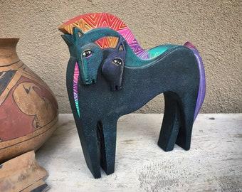 1999 Laurel Burch Embracing Horses Stoneware Sculpture, Shelf Accent Desk Decor, Equine Gifts