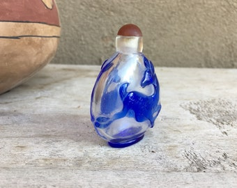 Vintage Chinese Snuff Bottle Blue Overlay over Clear Glass Leaping Deer, Cameo Snuff Bottle, Peking Glass, Longevity Prosperity Talisman