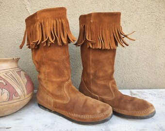 Vintage Tall Moccasin Boots Women's Size 9 (Run Small) Brown Suede Leather with Fringe