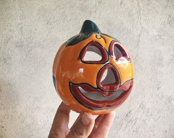 Small Orange Talavera Pottery Pumpkin Jack-o-Lantern Candle Holder, Mexican Pottery