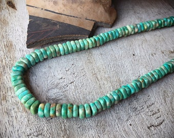 Turquoise Choker Necklace Heishi Beads Native American Indian Jewelry, Hippie Necklace