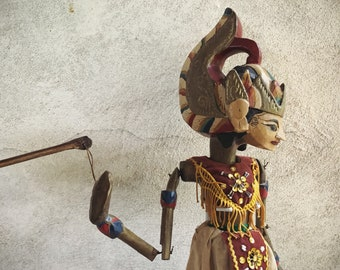 Vintage Balinese Stick Puppet Wood Carving Bali Folk Art, Indonesian Art, Wayan Golek Puppet
