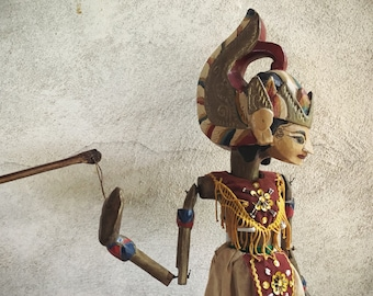 Vintage Balinese Wayang Golek Stick Puppet Marionette Made of Wood with Ornate Costume