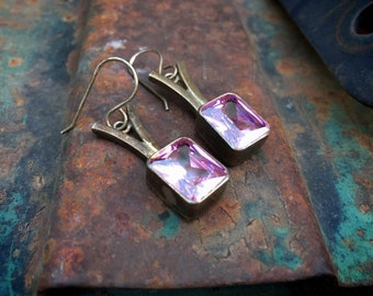 Vintage 925 Sterling Silver and Sparkly Faceted Pink Crystal Gemstone Earrings for Women