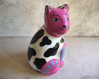 Vintage Mexican Pottery Cat Bank Pink Kitty Decor, Money Bank Cat Collectibles, Mexican Decor