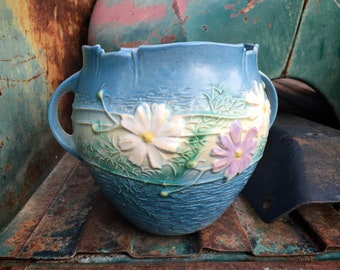 1940s Roseville Pottery Cosmos Blue Jardiniere Vase Handles, Collectible Art Pottery Ceramic Pot