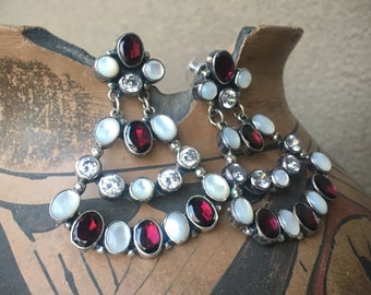 """2"""" Long Mother of Pearl and Garnet Chandelier Earrings, Navajo Native America Indian Jewelry"""