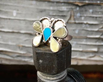 Dainty 1970s Turquoise Mother of Pearl Inlay Butterfly Ring Size 4.25, Native American Jewelry