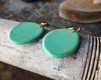 Thin Slab Turquoise Earrings Native American Indian Jewelry, Santo Domingo Pueblo New Mexico