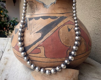 Vintage German Silver Bead Necklace for Women, Southwestern Native American Indian Style Jewelry