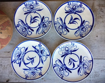"Four Vintage Earthenware Anamese Ceramics Stoneware Small Plates 7-5/8"" Blue White Vietnamese Pottery"