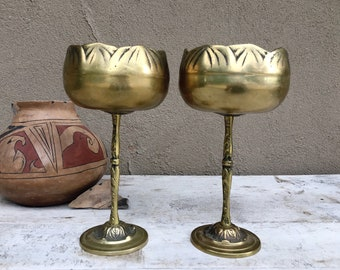 Pair of Vintage Brass Chalice Candle Holders Made in Korea, Modern Rustic Home Decor Midcentury