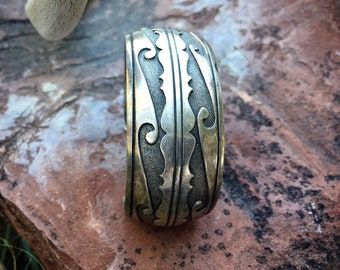 Vintage Sterling Silver Overlay Cuff Bracelet Unisex, Native American Indian Navajo Jewelry