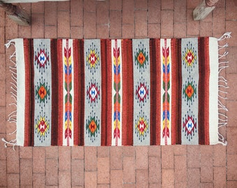 "31"" x 58"" Mexican Rug Woven Wall Hanging, Southwestern Decor, Bedroom Rug Bohemian Decor"