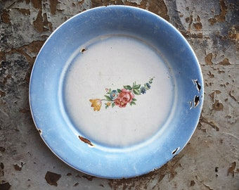 "8.5"" Floral Enamel Plate for Decorative Use, Vintage Enamelware, Country Cottage Farmhouse Decor"