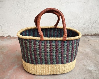 Vintage Sisal Straw Tote with Leather Handles, Big Bohemian Tote Hippie Bag, Groceries Bag, African Market Basket, Eclectic Decor Storage