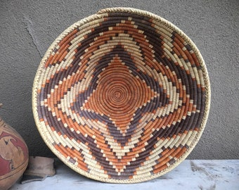 "15"" Wide Woven Basket Bowl Rust Brown Bohemian Decor, Southwestern Decor Coiled Basket Wall Decor"
