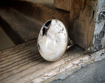 White Turquoise Stone Ring for Women Size 10 (Slightly Adjustable), Signed Navajo Native American Indian Jewelry