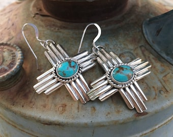 Matrixed Turquiose Earrings Sterling Silver Zia Cross, Navajo Robert Yellowhorse Native American Indian Jewelry, New Mexico Gift for Women