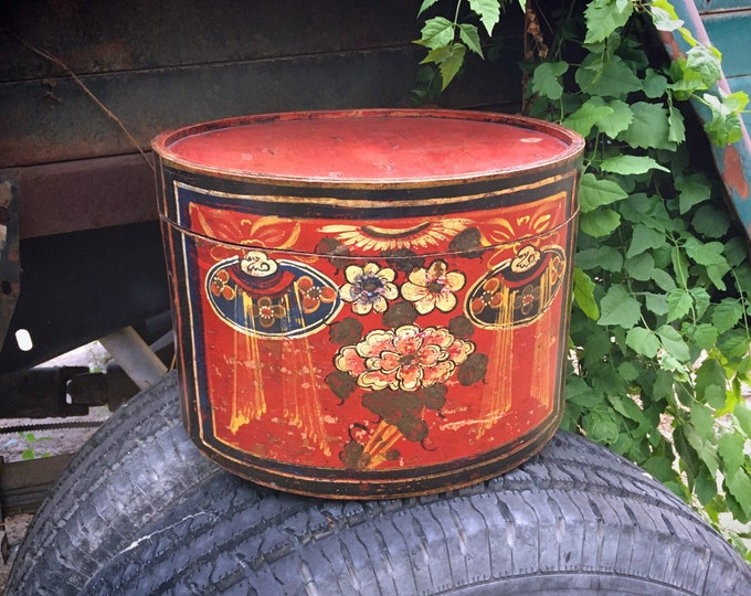 Featured listing image: Vintage Red Painted Bentwood Folk Art Hat Box with Lid (Some Damage), Art Supply Storage Container