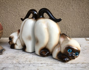 Vintage Lefton Porcelain Siamese Cat Figurine Bookends, Retro Library or Office, Kitten Lover