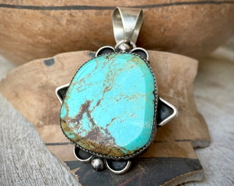 Huge Sterling Silver Turquoise Pendant for Necklace by Navajo Orville Manygoats, Native American
