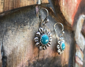 Small Earrings Silver and Turquoise Flower Earrings, Bohemian Jewelry, Birthday Gift