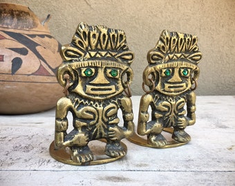 Vintage Brass Bookends Aztec Diety with Green Eyes Pre-Colombian Style Design, Mexican Decor Tiki Library