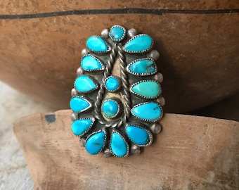 Vintage Turquoise Petit Point Ring for Women or Men Size 6, Native America Indian Jewelry