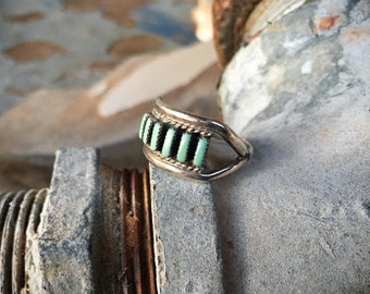 Size 6 Zuni Turquoise Ring Needlepoint Jewelry, Vintage Native American Indian Jewelry