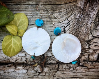 Big Round Mother of Pearl Slab Earrings with Turquoise Beads, Southwestern Native American Style