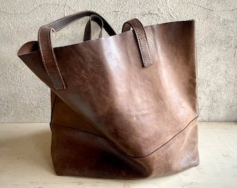 Used Distressed Soft Leather Tote Purse, Bohemian Style Fashion for Women, Dark Brown, Fair Trade