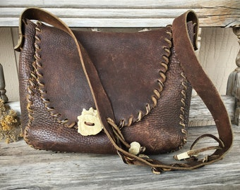 Vintage Dark Brown Leather Purse with Whip Stitching Horn Button Closure, Boho Hippie Shoulder Bag
