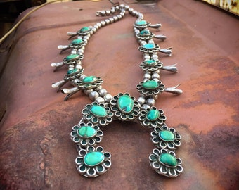 """220gm 28"""" Vintage Navajo Morenci Turquoise Squash Blossom Necklace for Women, Native American Indian Jewelry"""