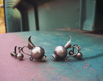 Rare William Spratling Silver Earrings Miniature Pitchers, Mexican Silver Earrings, Water Jewelry