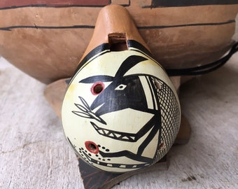 Handmade Pottery Whistle with Mimbres Design, Native American Indian Style Southwestern Art